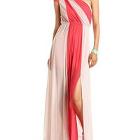 One Shoulder Color Block Maxi Dress: Charlotte Russe