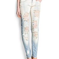 MANGO - CLOTHING - Jeans - Distressed super slim jeans