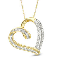 1/2 CT. T.W. Baguette and Round Diamond Tilted Heart Pendant in 10K Gold - View All Necklaces - Zales