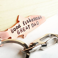 Fathers Day Keychain - fisherman gift - copper fish keychain great dad