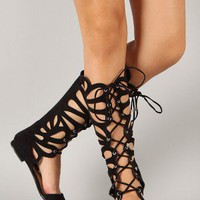 Breckelle Solo-05 Suede Cut Out Gladiator Knee High Flat Sandal