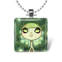 Sad Girl Gothic Dark Fairy Tale Glass Tile Necklace Keychain