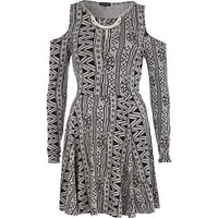 Grey aztec print cold shoulder skater dress - skater dresses - dresses - women