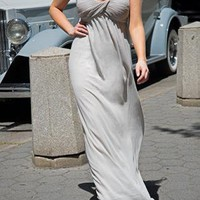 Gray Strapless Maxi with Gathered Sweetheart Top 00182
