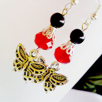 Silver butterfly charm red swarovski crystal earrings..great affordable gift