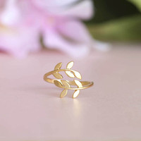 Golden Leaf Ring Laurel Leaf Ring Adjustable Ring Whimsy Ring