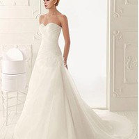 [179.99] Graceful Organza Satin A-line Strapless Sweetheart Neckline Natural Waist Wedding Dress With Beadings and Handmade Flowers - Dressilyme.com