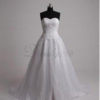 [149.36] Elegant Exquisite Organza Sweetheart Neck  Wedding Dress - Dressilyme.com