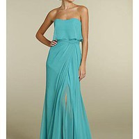 [101.99] Fabulous Chiffon A-line Strapless neckline Bridesmaid Dress - Dressilyme.com