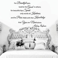 "Audrey Hepburn For Beautiful Eyes Quote Wall Decal 22""h X 30""w"