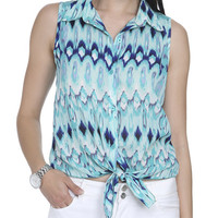 Printed Tie Front Shirt | Shop Tops at Wet Seal