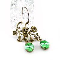 Vintage Style Flower Earrings, Peridot Green Rhinestones, Chandelier Earrings, Antiqued Brass, Spring Jewelry, Bridesmaids Gifts