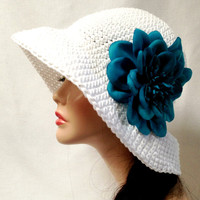 White Crochet Cotton Summer Hat