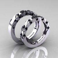 Modern Italian 14K White Gold Black Diamond Wedding Band Set R310BS-14KWGBD