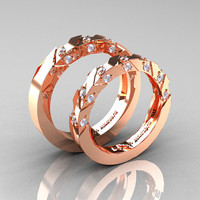 Modern Italian 14K Rose Gold Diamond Wedding Band Set R310BS-14KRGD