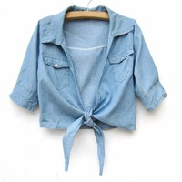 Shirt Collar Half Sleeve Denim Jacket