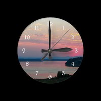 Pink Seascape Sunset Wall Clock from Zazzle.com