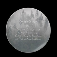 Serenity Prayer Misty Forest Plates from Zazzle.com