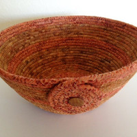 Coiled Fabric Basket, Decorative Bowl, Brown and Copper Bowl