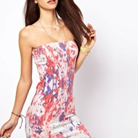 Only Blur Print Strapless Dress at asos.com