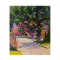 Spring landscape art - Cherry Tree Sakura Painting - Pink Green Canvas Art by Yuri Pysar