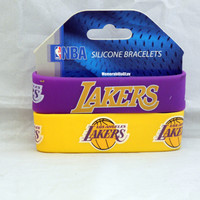 Los Angeles Lakers Silicone Rubber Bracelet Set 2 Pack NBA