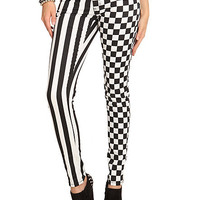 Royal Bones Check & Stripe Split Leg Skinny Jeans | Hot Topic
