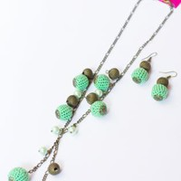 Pistachio Crocheted Beads Short Necklace and Earrings