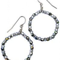Linda's Silver Beaded Hoop Earrings