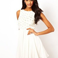 TFNC Babydoll Dress with Applique Jewels at asos.com