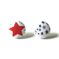 Button Earrings Fabric Covered Red and Blue Stars Patriotic Jewelry