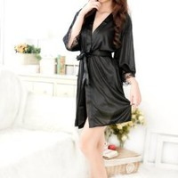 Sexy black Women's summer soft ice silk pajama leisurewear nightgown skirts jacket emulation silk robe lingeire:Amazon:Health & Personal Care