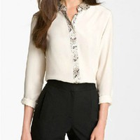 Chiffon Blouse with Snakeskin Print Trims