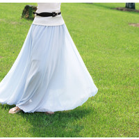 Light Blue Stylish Chiffon Long Maxi Skirt
