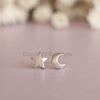 Silver Moon Star Earrings, Crescent Moon and Star Studs, Moon Star Posts, Whimsical Earrings