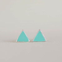 Mini Triangle Stud Earrings, Turquoise Blue Studs, Tiffany Blue Posts, Arrow Studs, Geometric Inspired