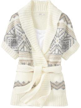 Women's Fair Isle Tie-Belt Wrap Cardigans | Old Navy