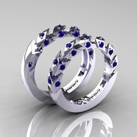 Modern Italian 14K White Gold Blue Sapphire Wedding Band Set R320BS-14KWGBS