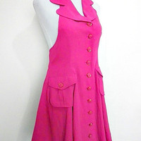 carnation pink halter military dress (1980s Vintage / 1960s Retro Mod)