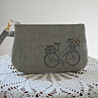 Handstamped Linen Wristlet  Clutch Zipper Gadget Pouch Retro Bicycle Hand Embroidered Made in USA