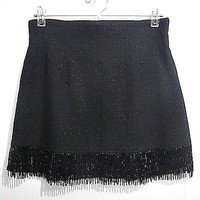 black w/ lace & beaded tassels mini skirt (1990s Vintage / 1920s inspired)