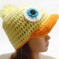 Crochet Brimmed Duck Beanie Hat in Yellow