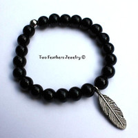 Feather Bracelet - Black Glass Beaded Bracelet - Boho - Chic - Tribal - Indie - Stretch Bracelet - Stacking Bracelet - Gift For Her
