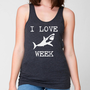 I LOVE SHARK Week Dark Grey Heather Unisex Heathered Tank Top Shirt silkscreen screenprint American Apparel