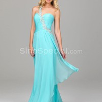Blue Column One-Shoulder Chiffon Full Length Homecoming Dress-SinoSpecial.com