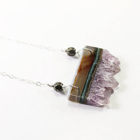 Amethyst necklace druzy silver necklace natural gemstone sterling handmade jewelry