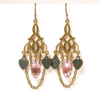 Pink Crystal Earrings, Pink Chandelier Earrings, Heart Earings, Chain Dangle Boho Earrings