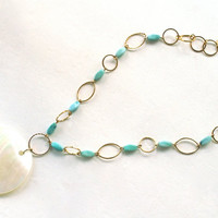 Shell Necklace with Faux Turquoise Summer Beach Jewelry