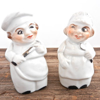 SALE - Chef Salt & Pepper Shakers - Vintage Ceramic Winking Man, Woman Mid Century 1950s White Japan Shakers Decor / Kitchen Cooks