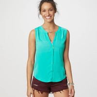 AE Sleeveless Button Tank | American Eagle Outfitters